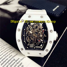 Wholesale Automatic Rubber Strap - Luxury Brand 055 White Ceramic Case Spline Screws Skeleton Automatic Sports Mens Watch Sapphire Crystal Transparent Back Rubber Strap