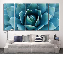 Wholesale Large Painted Canvas Art - Large Wall Art Blue Agave Canvas Prints Agave Flower Large Art Canvas Printing Extra Large Canvas Wall Art Print 60 Inch Total