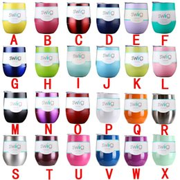 Wholesale Egg Boxes - New 9oz Stemless Swig Egg Cup 24 colors A-Z with label stainless steel Wine Glass with retail box in stock