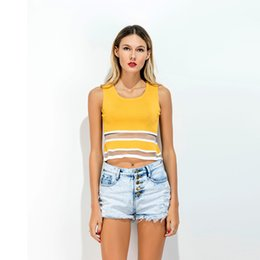 Wholesale Yellow Striped Tank - Europe And The United States Fashion Slim Top Woman Pullover Panelled Hem Perspective Vest Female Crop Tee