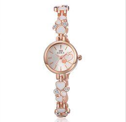 Wholesale Double Diamond Watches - Double love diamond fashion 2017 wholesale women ladies luxury watch casual lady dress quartz alloy metal bracelet watches