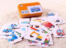 Wholesale 3d Puzzle Cards - Early Educational Montessori English Fruit Animal Traffic Match Game Puzzle Card Toys for Iron Box Package 3D Puzzle toys