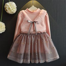 Wholesale Toddler Girls Turtlenecks - Baby Girl Pink Tutu Dresses Toddler Kids Girls Tulle Dress 2017 Autumn Princess Full Sleeve Dress For Party Children Clothing Costume S392