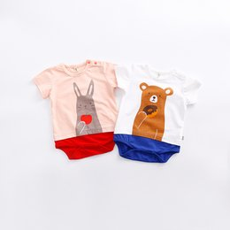 Wholesale French Terry Romper - 2017 baby boy girl clothing romper newborn one-piece jumpsuits infant bodysuits bear rabbit cotton short sleeve kid clothes summer