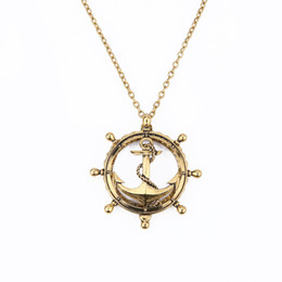 Wholesale Magnifying Glass Gold - 2017 gold plated Trendy anchor magnifying glass Hollow out long chain pendant Necklace for Women Statement Jewelry wholesale Free shipping