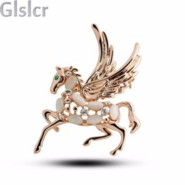Wholesale Horse Brooches - Wholesale- Christmas gifts new Factory wholesales 18KGP Austrian Crystal rhinestones wings horse Brooch Clip pins fashion jewelry 84985
