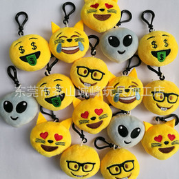 Wholesale Funny Face Movie - 5.5cm2.16inch Grimace Funny face plush Keychain emoji Stuffed Plush Doll Toy keyring for Mobile Pendant catface creative toys gifts