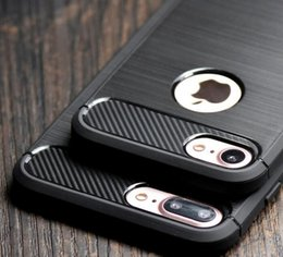 Wholesale Brushed Iphone Case - Luxury Slim Armor Case for iPhone 7 7 Plus 6 5S SE galaxy S8 Plus S7 edge huawei P8 P9 Lite Carbon Fiber Texture Brushed TPU Soft Back Cover