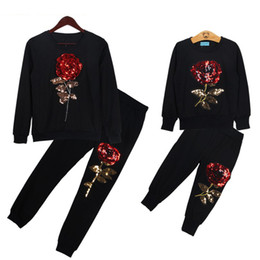 Wholesale Family Sweatshirts - 2017 New Spring Style Family Matching Outfits Mother And Daughter Long Sleeve Rose Floral Sweatshirt+Pants 2Pcs Suit