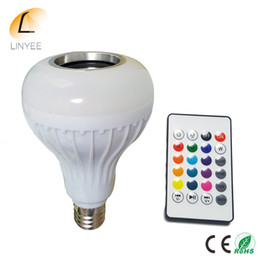 Wholesale Light Bulbs Led Dimmable - 2017 E27 Smart RGBW Wireless Bluetooth Speaker Bulb Music Playing Dimmable 12W LED Bulb Light Lamp with 24 Keys Remote Control