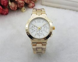 Wholesale Japan Water Resistant Watch - Hot Sale brand M wrist watch Japan Gold Movement M Classic Metal Watch+ Gift available men women gold stainless steel fashion watch