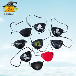Wholesale Pirate Masquerade Masks - Pirate Eye Patch Halloween Masquerade Black Color Skull Eye Patch Costume Party Props Cosplay Eye Mask