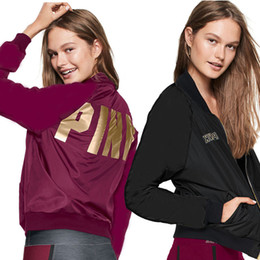 Wholesale Women Print Fashion Blazer - S-2XL Ladies Fashion Winter Autumn Long Sleeved VS PINK Print Jacket Blazer Womens Casual Fall Hooded Coat Outwear Outerwear
