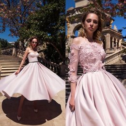 Wholesale Strapless Lace Tea Length Satin - 2018 Pink Tea Length Homecoming Dresses With Jacket Daria Karlozi New Sweetheart Lace Formal Appliqued Short Prom Gowns Evening Dress