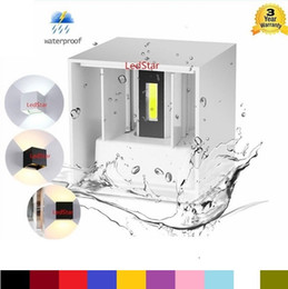 Wholesale ups led - 8W 12W COB Up And Down Led Wall Sconces Wall Lights IP65 Surface Mounted Outdoor Cube Lamp Waterproof IP65