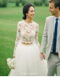 Wholesale Two Piece Dress Boho - New Sale Boho Lace Two Piece Wedding Dress With Long Sleeves Women Wear Bridal Gown Custom Made Plus Size Vestido De noiva