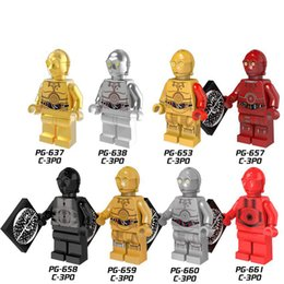 Wholesale Block C - Building Blocks Minifigures Action Bricks Space War Etiquette Robot C-3PO See-Threepio Kids Christmas Gift DIY Toys 8pcs set PG8023