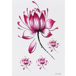 Wholesale Sticker Lotus - Wholesale- Free Shipping Peaceful Lotus Waterproof Temporary Tattoo Stickers for Shoulder Decoration #r116