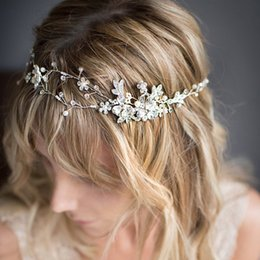 Wholesale Fairy Rose Plant - High Quality Rose Gold Flexible Headband Crystal Rhinestone Floral Hairband Hand Beaded Wedding Bridal Hair Accessories Free Shipping