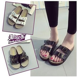 Wholesale Wholesale Flip Flops Buckle - Unisex Beach Flip-flops Summer Sandles Fashion Antiskid Slippers Couple Beach Shoes PU Leather Slippers Casual Cool Slippers CCA5747 30pair
