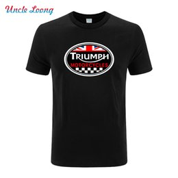 Wholesale Motorcycle Triumph - Wholesale- GREAT BRITAIN TRIUMPH MOTORCYCLE logo printing funny T-shirt Men Cotton Casual Short Sleeve fashion T Shirt
