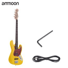 Wholesale Bass Guitar Woods - Wholesale- ammoon Solid Wood 4 String JB Electric Bass Guitar Basswood Body Rosewood Fretboard 21 Frets with 6.35mm Cable