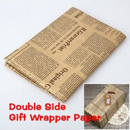 Wholesale Recycled Corrugated - 20PCS 52x75cm Newspaper Decoration Wrapping Paper Wrap Gift Wrap Double Sided Christmas Party Decor Vintage Kraft Paper Random Color