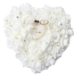 Wholesale flower shaped pillow - Heart-shape Rose Flowers Ring Box Romantic Wedding Jewelry Case Ring Bearer Pillow Cushion Holder Valentine's Day Gift