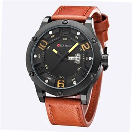 Wholesale Watch Leahter - Brand Fashion Men's leahter steel Military Casual Sport Watch waterproof relogio masculino quartz Wristwatch Sale