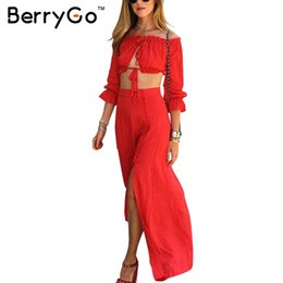 Wholesale New Year Vintage Dresses - Wholesale- BerryGo Vintage club long dress Two piece set beach summer dress women 2017 new year Off shoulder chiffon red maxi dress vestido