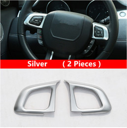 Wholesale Evoque Wheels - 2Pcs Car Steering Wheel Buttons Frame Decoration Decal Chrome ABS For Land Rover Range Rover Evoque 2012-16 Interior Accessories