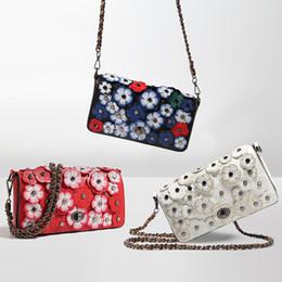 Wholesale Handmade Clutches - 2017 women fashion clutch bag white luxury designer handbag girls chain handmade floral shoulder bags crossbody