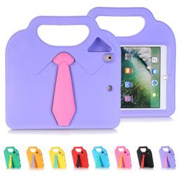 Wholesale Kids Blue Ties - Tie Kickstand Design 3D Necktie Kids Rubber Shock Resistant Handle Case EVA Shockproof Stand Shell Cover Case for iPad Mini 4 3 2 1 Coque