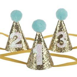 Piccolo primo partito di compleanno di scintillio cappello Pom ragazze ragazzo rosa blu carino bambini compleanno festa accessori per capelli oro ragazze fascia da