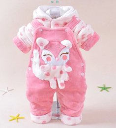 Wholesale White Overalls Baby Boy - Wholesale- new 2014 baby girl baby boy cartoon warm clothing sets hoodie+overalls kids clothes sets 2pcs baby suit