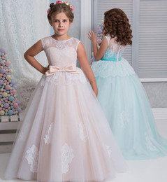 Wholesale green litter - Blush Holy Flower Girl Dresses for Wedding with Cap Sleeves for Litter Girl A-Line First Communion Dress Kids Lace Wedding Party Dress 2017