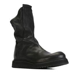 Botas de estilo masculino online-Hombres de estilo británico Martin Booties Botas altas de cuero de vaca Hlaf Botas de moda vintage Hombre