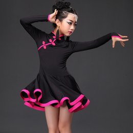 Wholesale Dresses Latin Children - 2016 New Child Latin Dance Dress Ice Silk Cheongsam Buttons Ruffle Skirt Black Red Blue Kids Dancewear Latin Dancing Dress Girls DQ4059