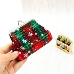Wholesale Mini Bags For Changes - Wholesale- 2017 NEW Plaid Snow Womens Coin Purse Mini Wallet for Coin Change Purses Christmas Candy Bag Cloth free shipping