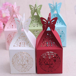 Wholesale White Paper Butterflies - 100 PCS butterfly card buckle hollow laser gift bag of 5.5 * 5.5 cm boxes of Chinese style and joyful candy box