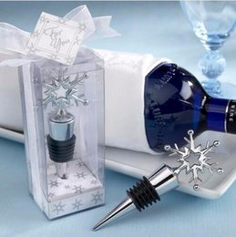 Wholesale Snowflake Wine - Metal Snowflake Wine Bottle Stopper Wedding Bridal Shower Favors Gifts For Guest Party Decoration+DHL Free Shipping