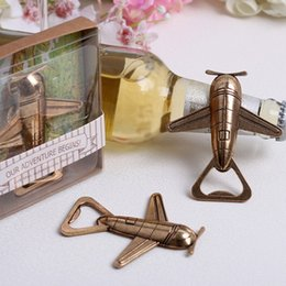 Wholesale Cute Bridal Shower Gifts - Beer Bottle Opener Tool Cute Airplane for Wedding Party Bridal Shower Party Favors Guest Gift Airplane Wine Corkscrew Gold Beer Openers