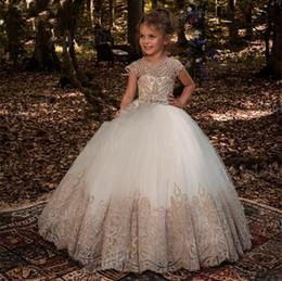 faire du vin blanc Promotion Robe boule longueur de plancher bijou cristal enfants tenue de soirée 2018 robes de demoiselle