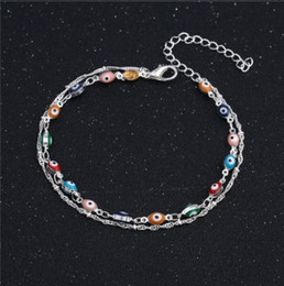 Wholesale Handmade Barefoot Sandals - Handmade Devil Eye Ankle Chain S925 Sterling Silver Multi Layer Ankle Bracelets Gifts Barefoot Sandals Womens Anklet