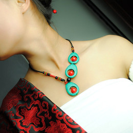 Wholesale Unique Peacock - Wholesale-FREE SHIPPING Unique Peacock-feather Shaped Drop Turquoise Red Coral Distinctive Asymmetric Original Necklace Ethnic Jewelry