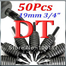 "Wholesale Diamond Tip Tubes - Wholesale- 3 4"" (19mm) 50Pcs DT Black Disposable TATTOO TIPS GRIPS TUBES machine tatuaje Tattoo Tubes Grips"