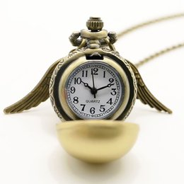 Wholesale wholesale celtic watch - Wholesale- Lady Golden Wing Pendant Harry Golden Potter Little Snitch Antique Pocket Watch Necklace Girl Women Gift Quartz Watch Chain