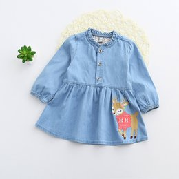 Wholesale Free Chinese Lantern - DHL Free 2017 Baby 3D Giraffe Dress Girl Denim Giraffe Summer Fashion Jeans A Line Dress Baby Flamingo Dress Girls Cranes Clothes Clothing