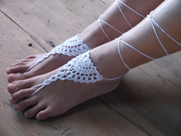 Wholesale Crocheted Casual Shoes - Beach wedding Crochet White Barefoot Sandal, Feet thongs, Beach Shoes, Wedding Accessory, Nude Shoes Victorian Sexy Lace, Gift for her JL048