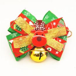 Wholesale Dog Christmas Tie - New Christmas Dog Pet Bowknot Collar Dog Bells X'mas Cat Bow Tie Christmas Grooming Pet Supplies